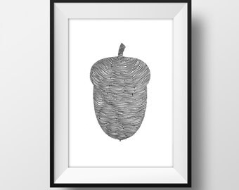 Acorn  Line and Circle Illustration Print - Ink- Drawing - Art - 6x4