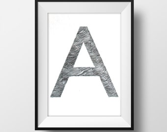 Custom Initial Letter Original Drawing - Personalized Art