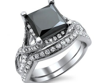 2.75ct Black Princess Cut Diamond Engagement Ring Bridal Set 18k White Gold
