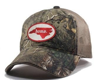Homeland Tees North Carolina Home State Realtree Camo Trucker Hat - Red