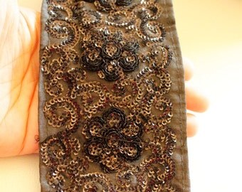 Black Silk Lace Trim With Black Sequin Work, 80mm wide - 030315L74