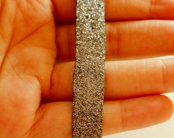 Grey Frosted Shimmer Lace Trim, Approx. 13mm wide - 030315L125