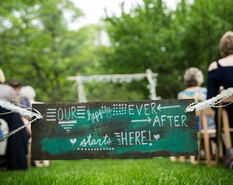 Happily Ever After Aisle Decor ~ Rustic, Vintage, Reclaimed, Garden Wedding