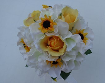 Flower girl bouquet with yellow roses and mini sunflowers