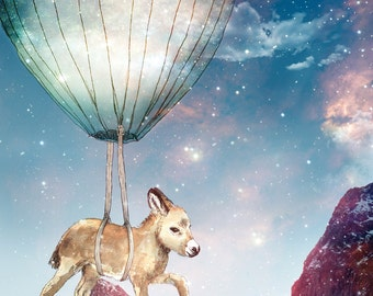 Donkey on a Journey   A5 print   Alykat Creative Stardust series