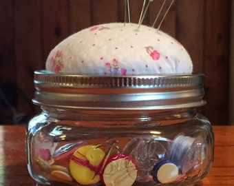 Mason Jar Pin Cushion- Pink Flower