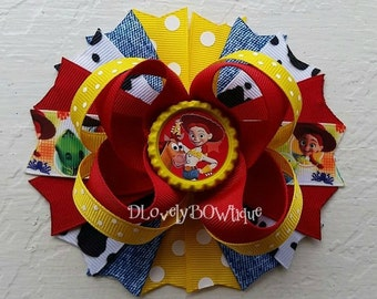 Toy Story Jessie Inspired Boutique Stacked Hair Bow -Jessie Hair Bow -Toy Story Hair Bow -Cowgirl Hair Bow