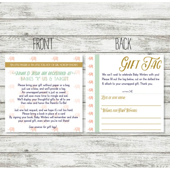 Wedding Gift No Registry: Baby Shower Registry Card Wording For Unwrapped Gift For