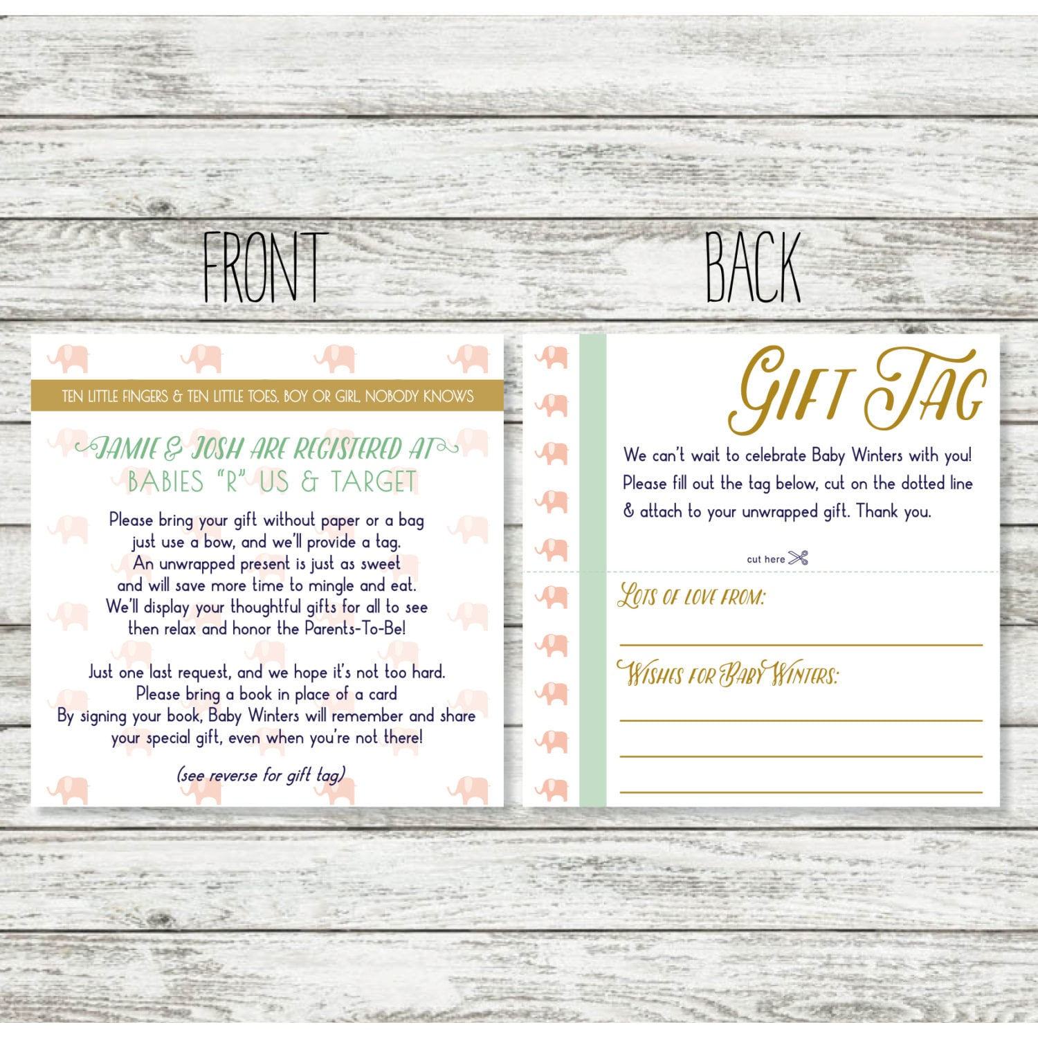 Baby shower registry card wording for unwrapped gift for for When do you register for wedding gifts