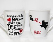 "Never Apart Best Friend Personalized Mug - Gift - Birthday - ""Best friends forever, never apart maybe in distance but never at heart"" - Poem"