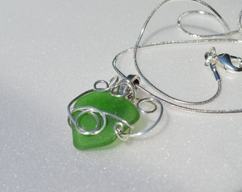 Authentic Surf Tumbled Emerald Green Maine Sea Glass Artistic Silver Wire Wrapped Pendant