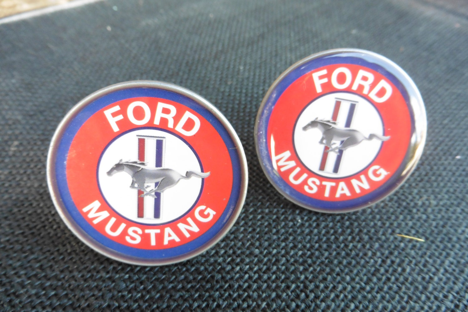 Ford Mustang Logo Red Blue White Automotive Car Auto