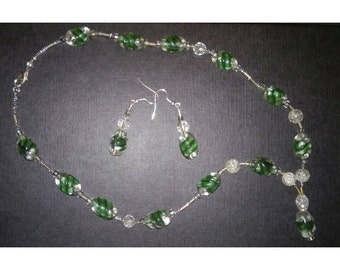 Beaded necklace and earrings Royal Green