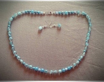 Forever in Blue #1: Beaded necklace and earrings set in pale blue