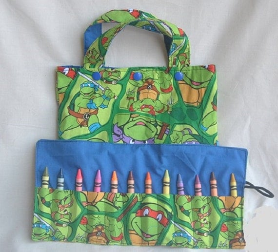 Ninja Turtles Tote Bag and Crayon Roll