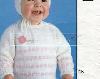 Baby Sweater and Bonnet 6-18 months DK Sirdar 3279 Vintage Knitting Pattern PDF instant download