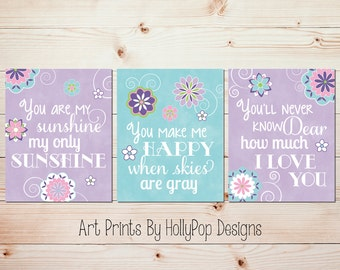 Baby Girl Nursery Art You are My Sunshine Girl Nursery Decor Purple Aqua Nursery Prints Toddler Girls Room Bedroom Decor Floral Art #1310
