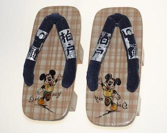 Mickey Mouse Vintage Geta Clogs Sandals Wood Wooden Flip Flops Childrens