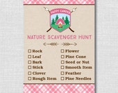 INSTANT DOWNLOAD - Girl Camping Nature Scavenger Hunt - Scavenger Hunt Game - Digital Design - Camping Birthday Party Game