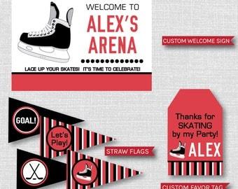 Hockey Birthday Party Printable Kit - Hockey Themed Birthday Party Decor - DIGITAL DESIGN
