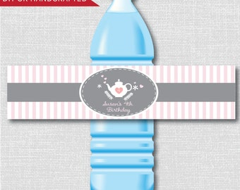 Modern Afternoon Tea Party Water Bottle Labels - Tea Party - Weatherproof Labels - Digital or Handcrafted - FREE SHIPPING