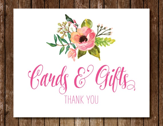 Printable Cards & Gifts Sign 5x7 8x10 Floral Flowers Pink