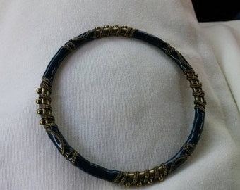 On Sale Collectible Dark Blue and Brass Bangle Bracelet Costume Jewelry Fashion Accessory
