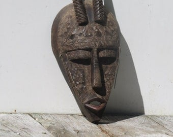 Authentic African Carved Horn Mask Plated With Tin  Accra Ghana Africa