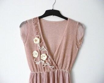 Short summer dress. Boho dress. Floral dress. Pale pink dress. Romantic summer dress. Silk dress. SALE.