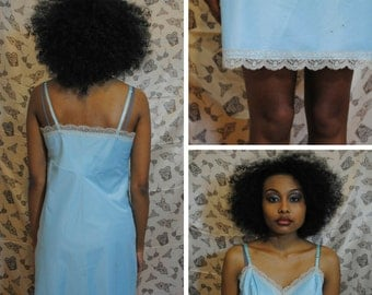 Light Blue Nightie - 1960's Lace Nightgown Light Blue Slip Lace Slip Light Blue Nightgown Lace Nightgown Blue Lace Slip Blue Lace Nightie