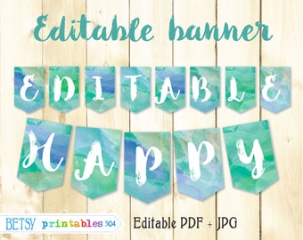 Watercolor banner,  editable pennants, happy  birthday banner, printable banner, blue and green - Instant Download  304