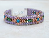 Loomed Beaded Bracelet . South Western . Czech Glass . Artisan Bracelet . Multi Colors . Sterling Charm