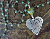 Large Artisan Sterling Heart Crochet Turquoise Necklace . Czech Glass. Pendant . Artisan Necklace. Vintage Sterling Turquoise