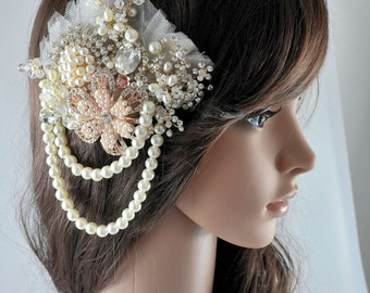 Swarovski crystal Rose Gold Silver White Crystal & Lace Tulle Net Pearl Classic Vintage Bridal Hair Comb Piece Slide