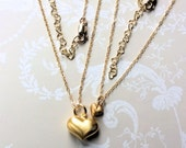 Mother & Daughter Gold Heart Necklace Gift Set Luxury 14ct yellow gold UK London Jewellery