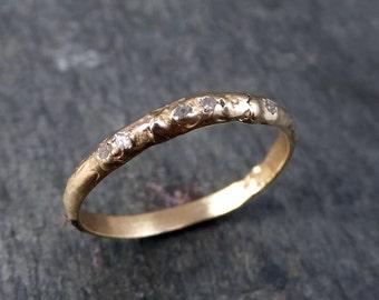 Custom Raw Rough Uncut Diamond Wedding Band 14k Gold Wedding Ring by Angeline
