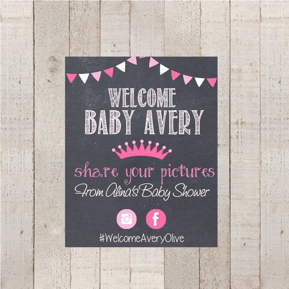 Baby Shower Sign Share Your Photos Sign Hashtag Sign