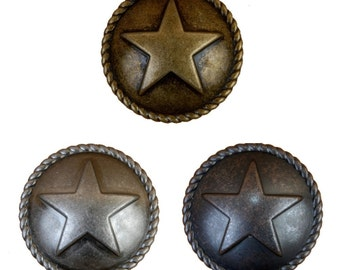 Star with Rope Drawer Pulls or Cabinet Knobs. Western, Southwest, Rustic, Texas