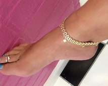 Panther link chain heart charms stunning hand designed submissive anklet bracelet