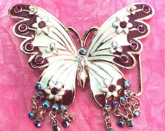 Outstanding Buttefly Enamled Hand designed gorgeous Belt Buckle Purple and AB Crystals