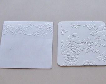 10 Mini Cards, Rose Mini Cards,  Embossed Rose Gift Cards, Embossed Envelopes, Gift Cards, Embossed Mini Cards, White Embossed Mini Cards