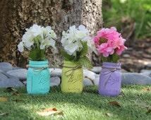 Set of 3 Pint Size Painted Ball Mason Jars- Rustic Home Deco- Vintage looking Painted Mason Jars- Rustic Wedding Deco