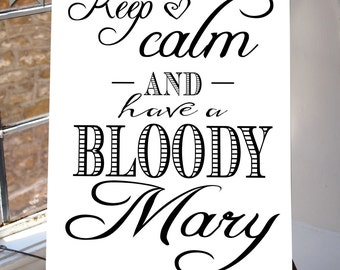 Keep Calm, Bloody Mary Bar Sign, Poster Bridal Shower, Decoration Brunch, Printable, Wedding Digital, INSTANT DOWNLOAD, white suite