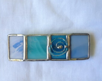 HANDMADE Mini HAIR CLIP  -Stained Glass France Hair Barrette Blue Colors with Beads Filigree-Hair Pin/Holder-Special Ethnic Tiffany Art Gift