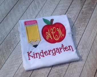 Back to school-I love school applique back to school shirt-back to school-apple monogram-kindergarten-first grade-personalized back to schoo