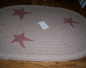 Crocheted Primitive Rag Rug  Tan with Stars  2' X 3' Oval