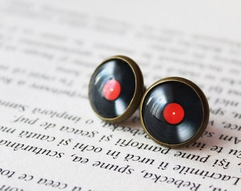 Vinyl Record Stud Earrings - Retro music Earrings - Gift for her