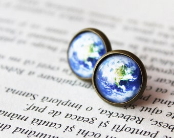 Earth Earrings - Earth Stud earrings - Globe Stud earrings - Planet Earrings - Galaxy Stud Earrings 14mm