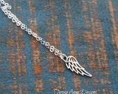 Tiny Silver Angel Wing Necklace, Sterling Silver, Minimalist Long Necklace, Tiny Charm, Nickel Free, Angel Jewelry