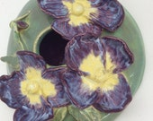Handmade Pansy Pottery Wall Birdhouse For Your Home or Garden Purple and Yellow